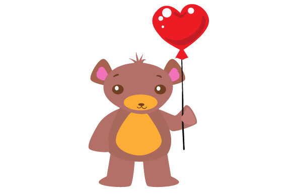 Download Free A Cute Teddy Bear Holding A Heart Shaped Ballon Svg Cut File By SVG Cut Files