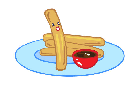 Download Free A Few Churros Laying On A Plate With Only One Upright And Smiling for Cricut Explore, Silhouette and other cutting machines.
