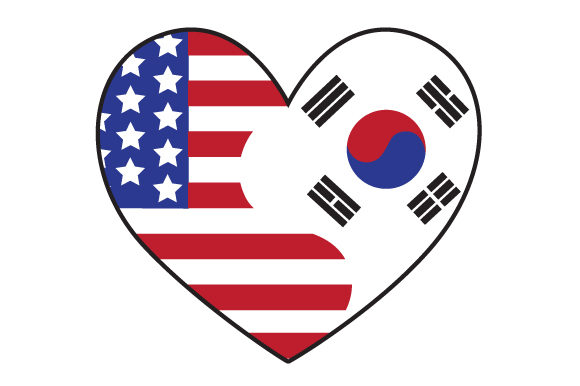 Download Free A Heart Design With Both The Us And South Korean Flags Together SVG Cut Files