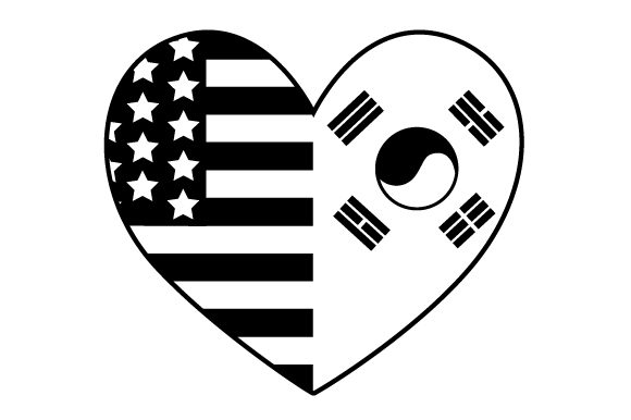 Download Free A Heart Design With Both The Us And South Korean Flags Together for Cricut Explore, Silhouette and other cutting machines.