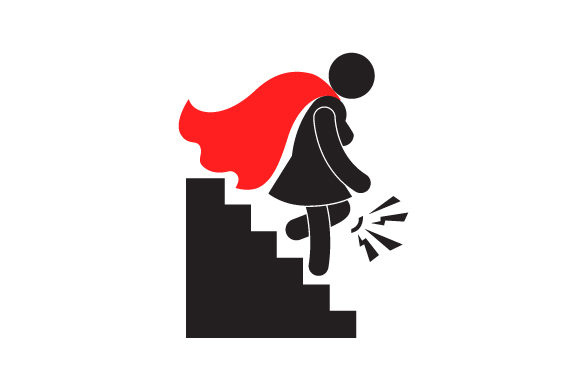 Download Free A Woman Superhero Silhouette Going Down The Stairs With Knee Pain for Cricut Explore, Silhouette and other cutting machines.