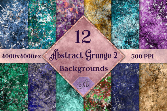 Print on Demand: Abstract Grunge 2 Backgrounds - 12 Image Set Graphic Backgrounds By SapphireXDesigns