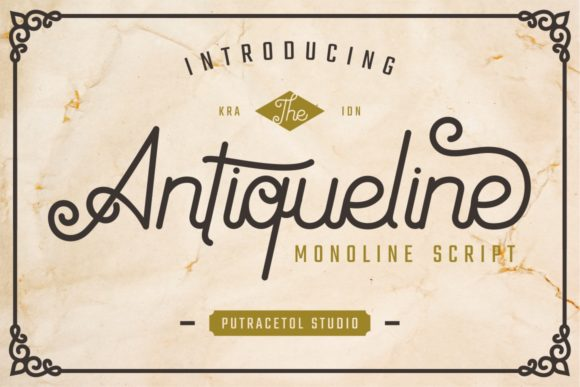 Print on Demand: Antiqueline Script & Handwritten Font By putracetol