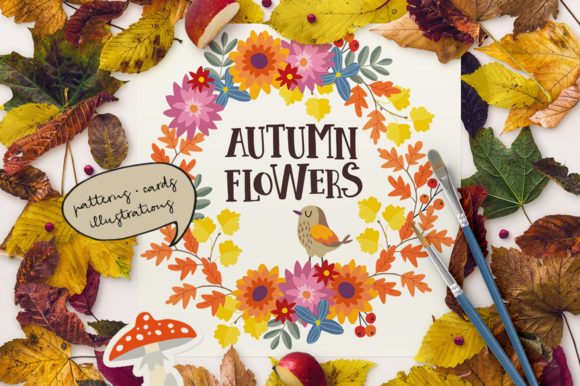Autumn Flowers Graphic Collections Graphic Graphic Templates By aprzee - Image 1