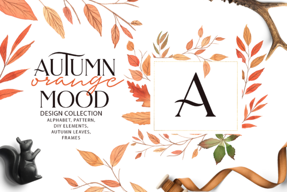 Autumn ORANGE Mood Graphic Illustrations By BilberryCreate