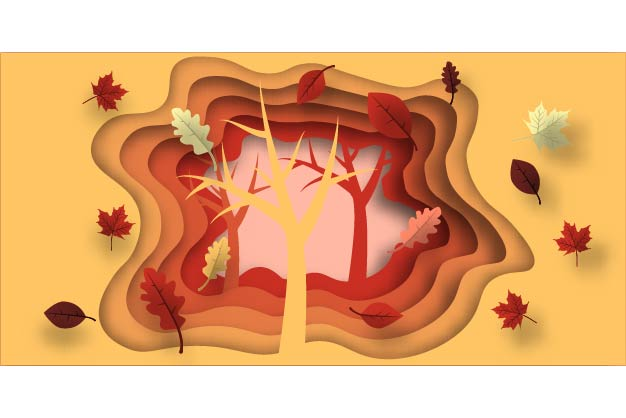 Download Free Autumn Paper Cut With Leaves And Tree Graphic By Ojosujono96 SVG Cut Files