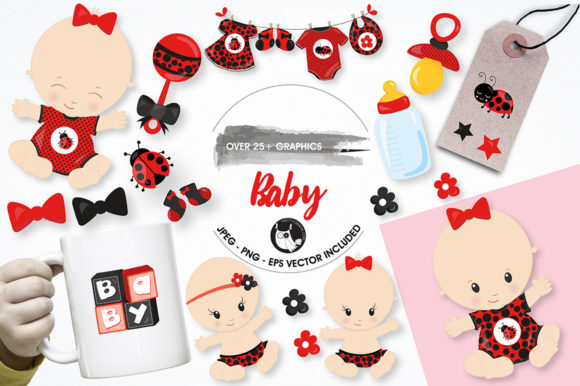 Print on Demand: Baby Clipart Set Graphic Illustrations By Prettygrafik