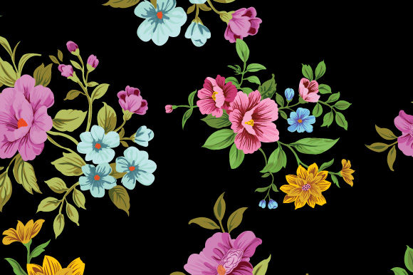 Print on Demand: Background in Small Flowers for Textiles Grafik Muster von iop_micro
