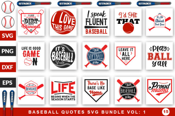 Print on Demand: Baseball Quotes Bundle Graphic Crafts By SubornaStudio