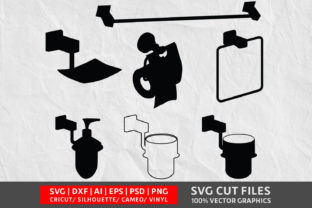 Download Free Bathroom Set Graphic By Design Palace Creative Fabrica for Cricut Explore, Silhouette and other cutting machines.