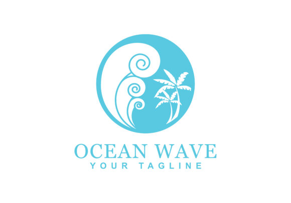 Print on Demand: Beach Wave Logo Graphic Logos By sabavector