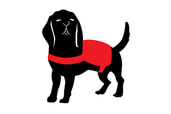 Download Free Beagle Silhouette Wearing Service Dog Vest Svg Cut File By for Cricut Explore, Silhouette and other cutting machines.