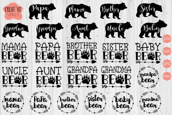 Bear Family SVG Bundle Graphic Crafts By creativespace