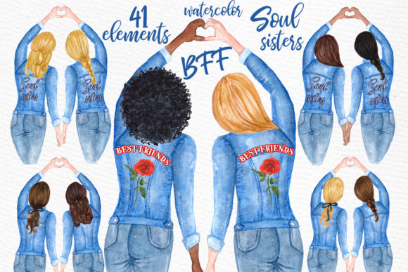 Best Friends Watercolor Clipart Graphic Illustrations By LeCoqDesign - Image 1