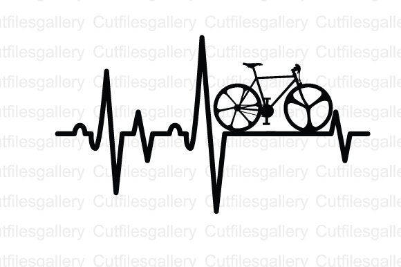 Download Free Bicycle Heartbeat Graphic By Cutfilesgallery Creative Fabrica for Cricut Explore, Silhouette and other cutting machines.
