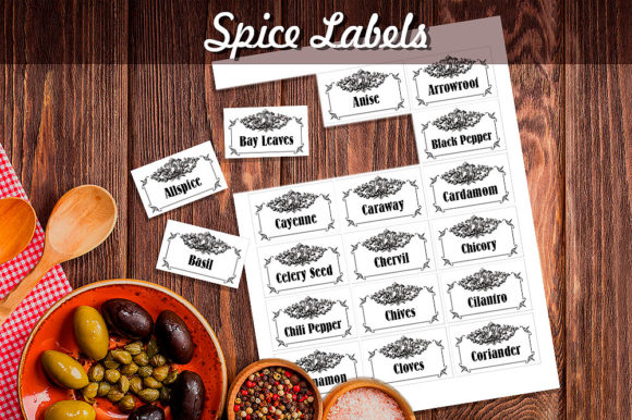 Black & White Vintage Herbs and Spices Labels Graphic Crafts By danieladoychinovashop