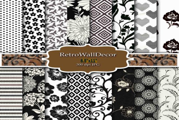 Print on Demand: Black and White Digital Paper Pack 8.5 Graphic Backgrounds By retrowalldecor