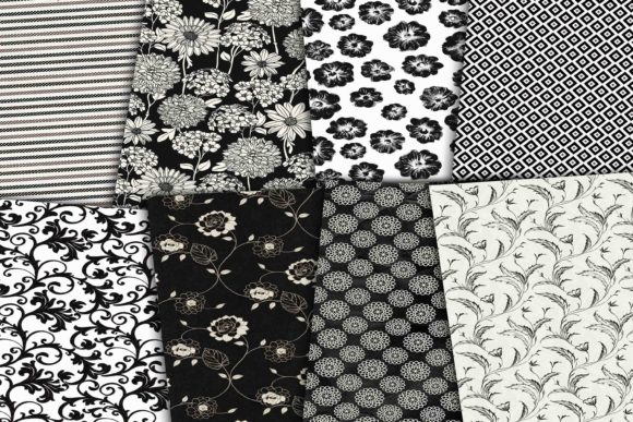 Print on Demand: Black and White Digital Paper Pack Graphic Backgrounds By retrowalldecor - Image 2