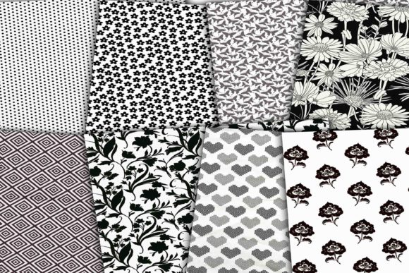Print on Demand: Black and White Digital Paper Pack Graphic Backgrounds By retrowalldecor - Image 3