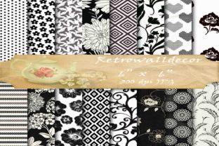Black and White Digital Paper Pack Graphic By retrowalldecor