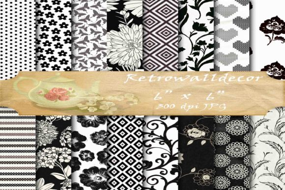 Print on Demand: Black and White Digital Paper Pack Graphic Backgrounds By retrowalldecor - Image 1