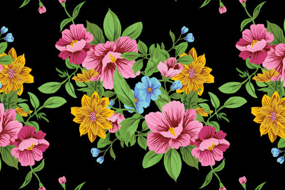 Print on Demand: Blak Background Seamless Floral Pattern Graphic Patterns By iop_micro