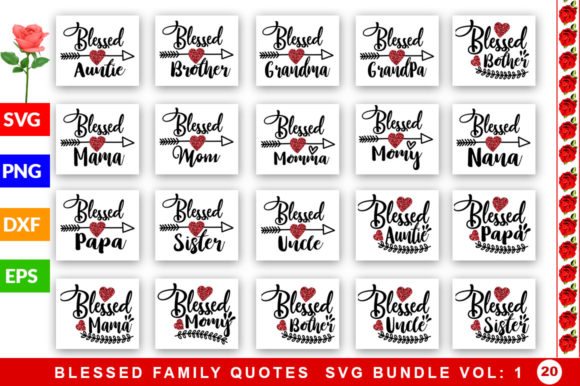 Download Free Blessed Family Bundle Graphic By Subornastudio Creative Fabrica for Cricut Explore, Silhouette and other cutting machines.