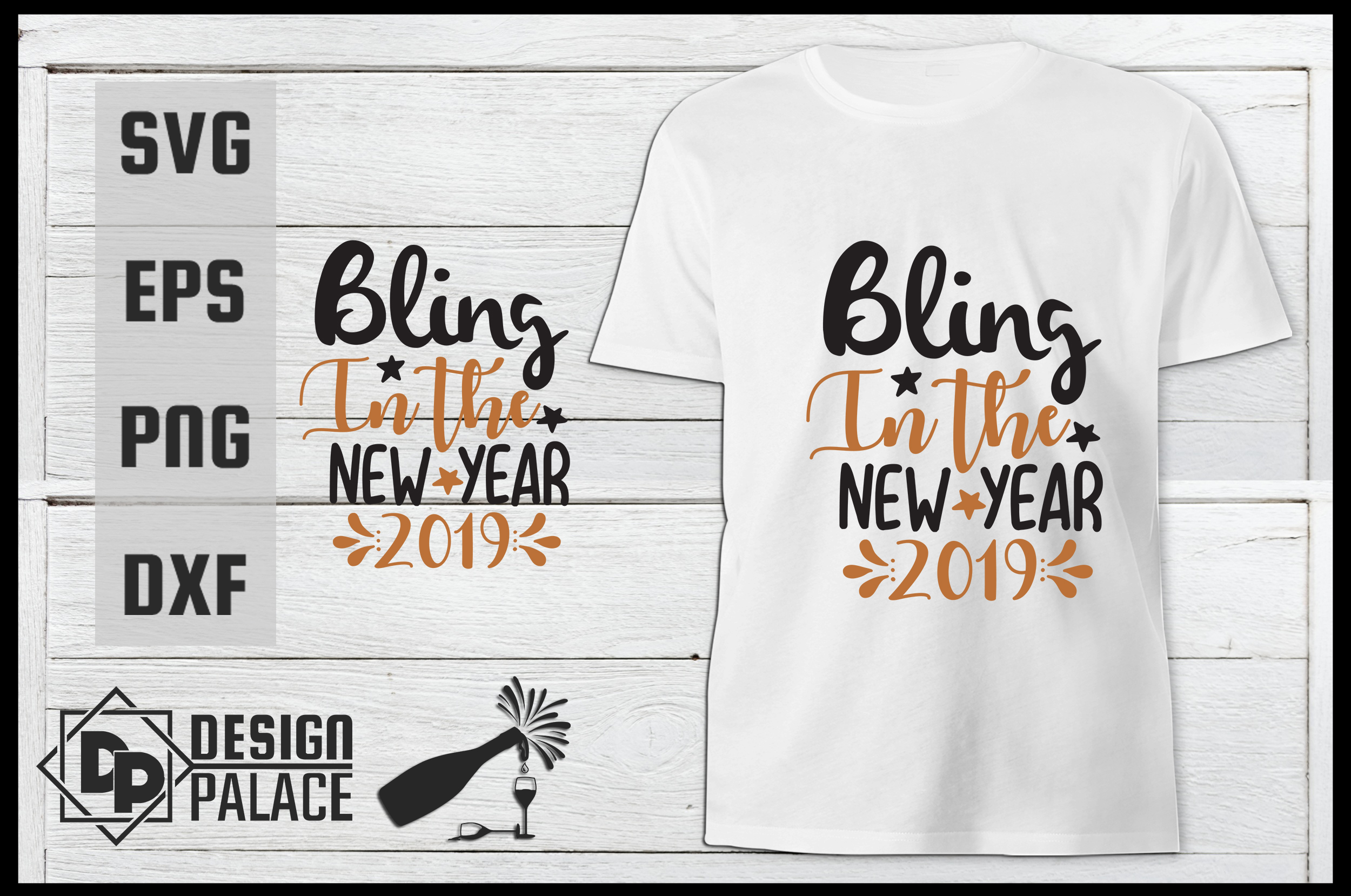 Download Free Bling In The New Year Svg Graphic By Design Palace Creative for Cricut Explore, Silhouette and other cutting machines.