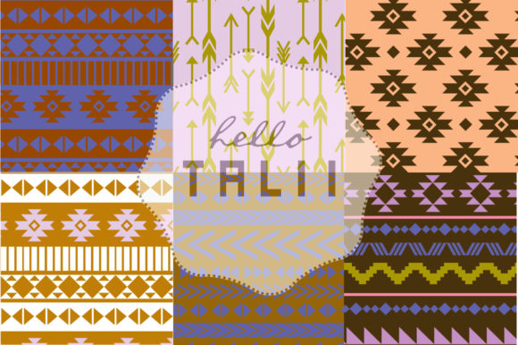 Blue Tribal Digital Paper Graphic Patterns By Hello Talii - Image 2