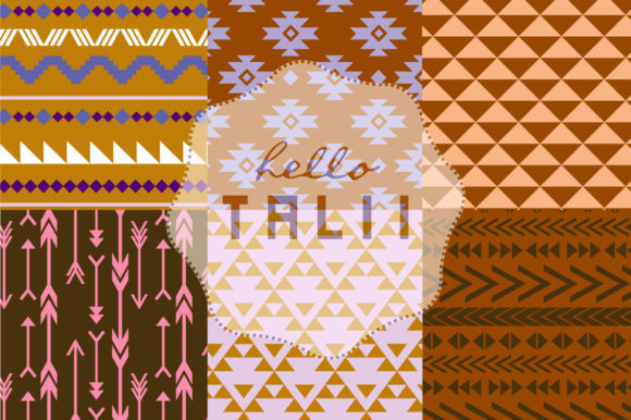 Blue Tribal Digital Paper Graphic Patterns By Hello Talii - Image 3