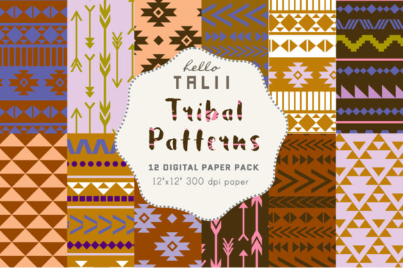 Blue Tribal Digital Paper Graphic Patterns By Hello Talii
