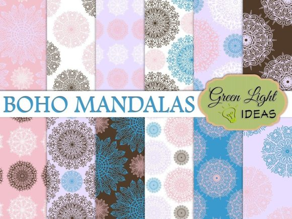 Boho Mandalas Digital Papers Graphic Backgrounds By GreenLightIdeas