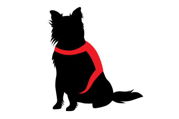 Download Free Border Collie Silhouette Wearing Service Dog Vest Svg Cut File for Cricut Explore, Silhouette and other cutting machines.