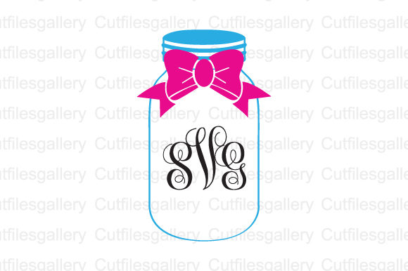Download Free Bow Mason Jar Monogram Svg Graphic By Cutfilesgallery Creative for Cricut Explore, Silhouette and other cutting machines.
