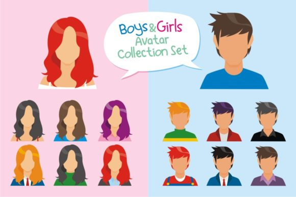 Download Free Boys And Girls Avatar Collection Set Graphic By Azkaryzki for Cricut Explore, Silhouette and other cutting machines.