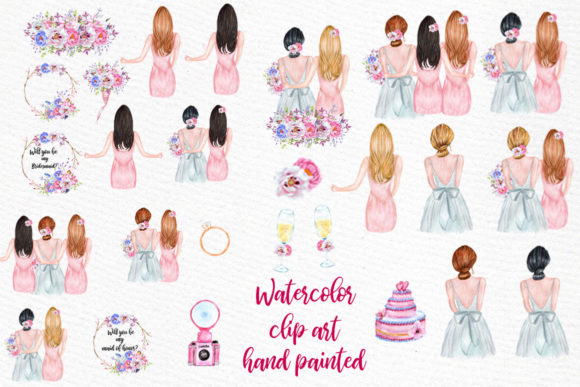 Bridesmaid Best Friends Clipart Graphic Illustrations By LeCoqDesign - Image 2