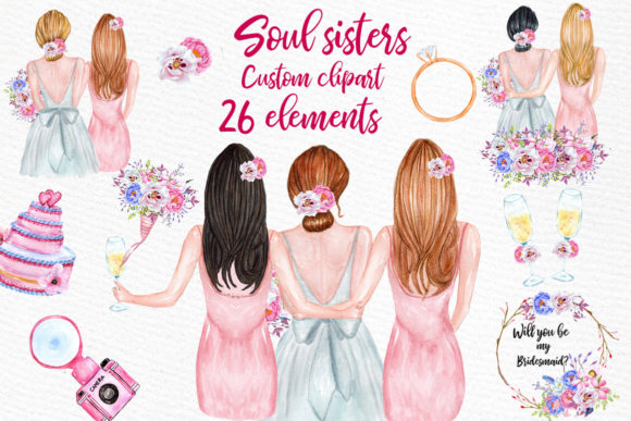 Bridesmaid Best Friends Clipart Graphic Illustrations By LeCoqDesign - Image 1