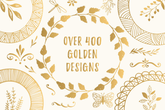 Bundle with 400 Golden Design Elements Graphic By anatartan Image 2