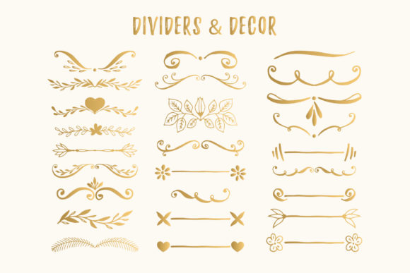 Bundle with 400 Golden Design Elements Graphic By anatartan Image 3