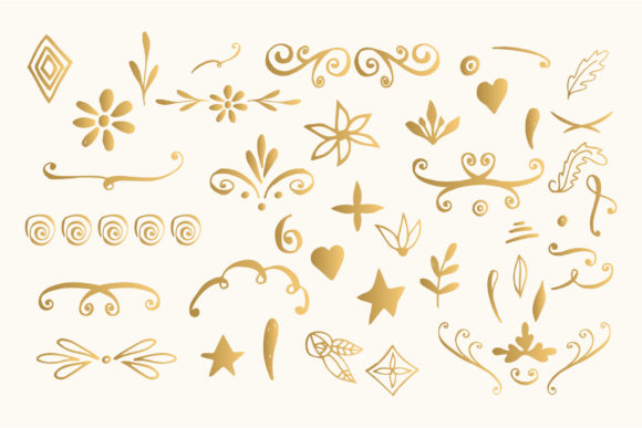 Bundle with 400 Golden Design Elements Graphic By anatartan Image 4