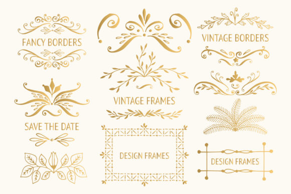 Bundle with 400 Golden Design Elements Graphic By anatartan Image 6