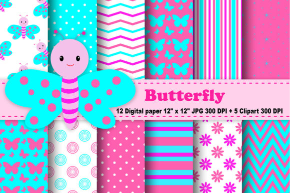 Print on Demand: Butterfly Digital Paper Graphic Patterns By CosmosFineArt