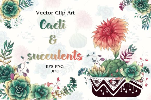 Download Free Cacti Succulents Graphic By Nicjulia Creative Fabrica for Cricut Explore, Silhouette and other cutting machines.