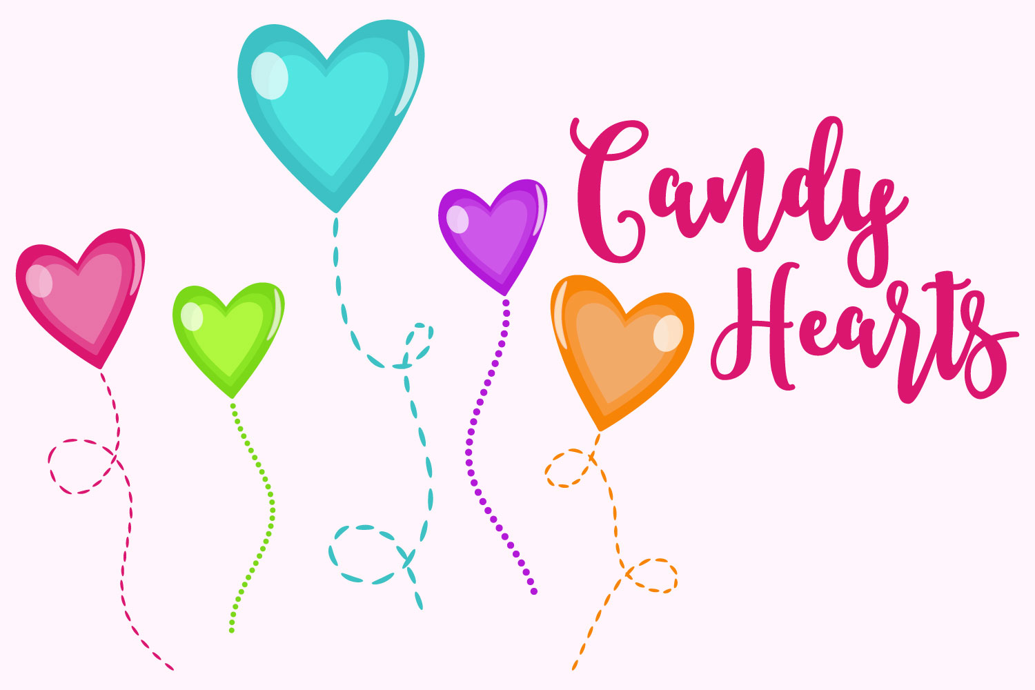 Download Free Candy Hearts On Stems Graphic By Sonyadehart Creative Fabrica for Cricut Explore, Silhouette and other cutting machines.