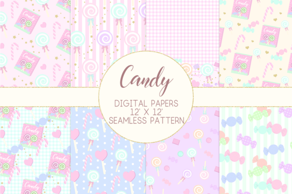 Print on Demand: Candy Lollipop Digital Papers Graphic Patterns By lilyuri0205