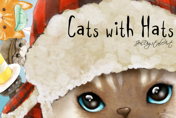 Cats with Hats Clip Art Illustrations Graphic By Jen Digital Art