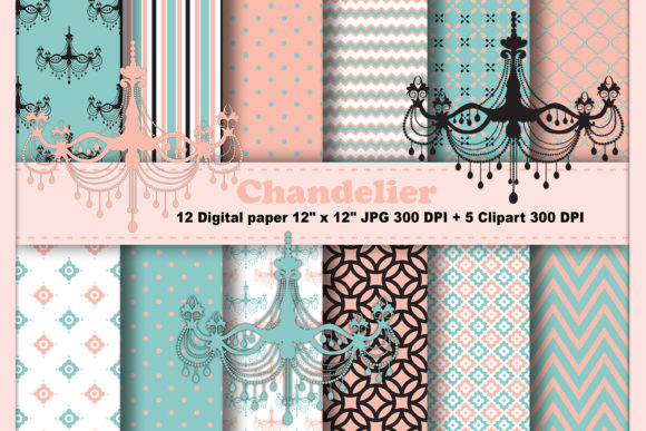 Print on Demand: Chandelier Digital Paper Graphic Patterns By CosmosFineArt