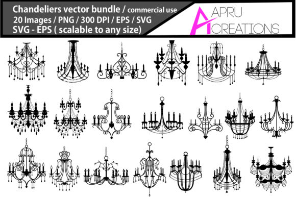 Print on Demand: Chandeliers Silhouette Graphic Illustrations By aparnastjp