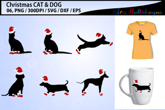 Print on Demand: Christmas CAT Vector Svg Vector Grafik Illustrationen von Arcs Multidesigns