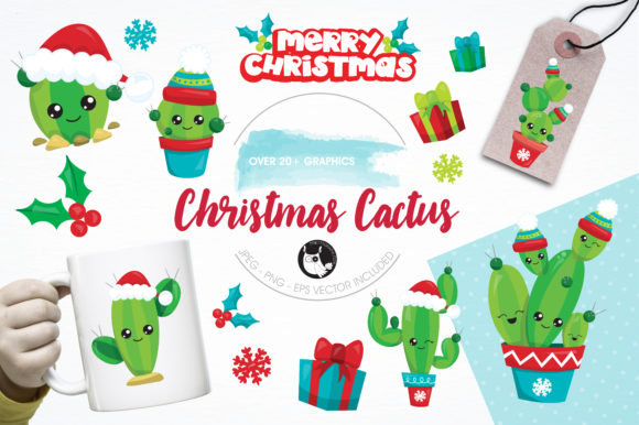 Download Free Christmas Cactus Clipart Set Graphic By Prettygrafik Creative for Cricut Explore, Silhouette and other cutting machines.